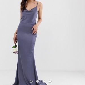 Missguided Satin Cowl Neck Maxi Dress- Slate Blue